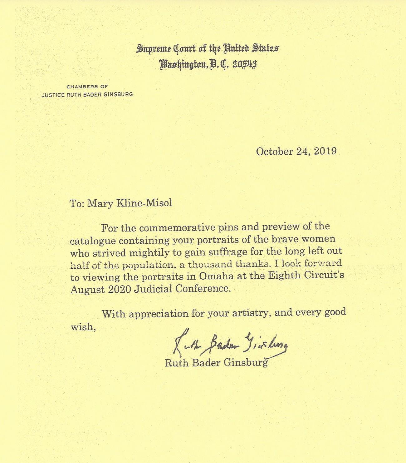 Thank you letter from Justice Ruth Bader Ginsberg