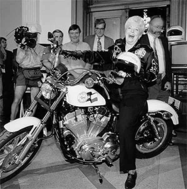 Ann Richards on Motorcycle