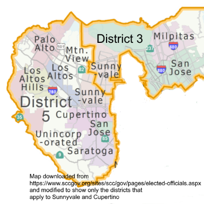 Map of Santa Clara Supervisor districts for Sunnyvale and Cupertino
