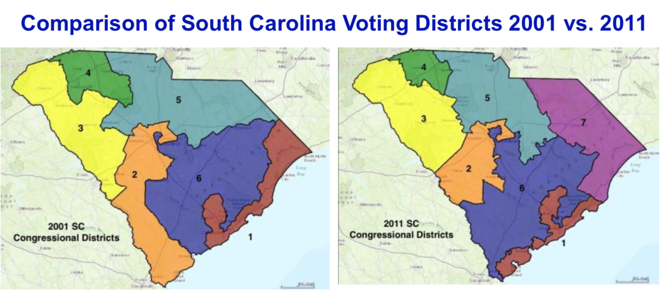 SC voting districts 2001 v 2011