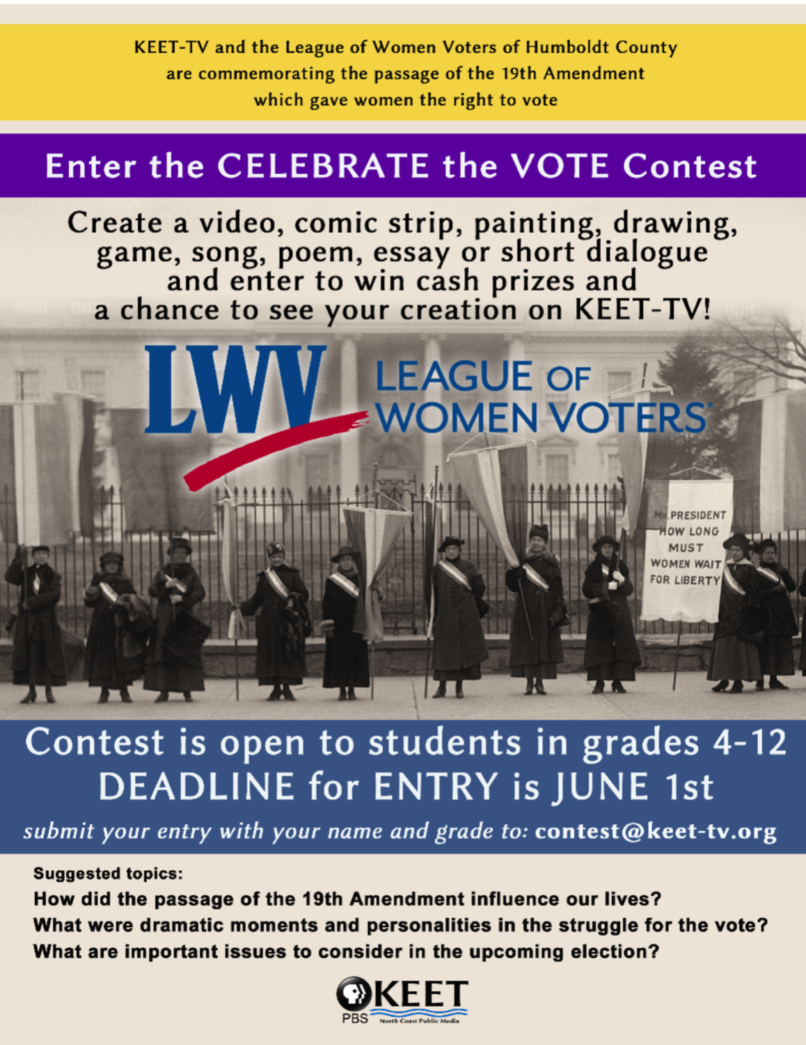 celebrate the vote contest flyer