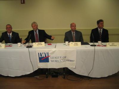 2013 Southampton Town Board candidates at debate, left to right, Damon Hagan, John Bouvier, Julie Hofstad and Christine Scalera