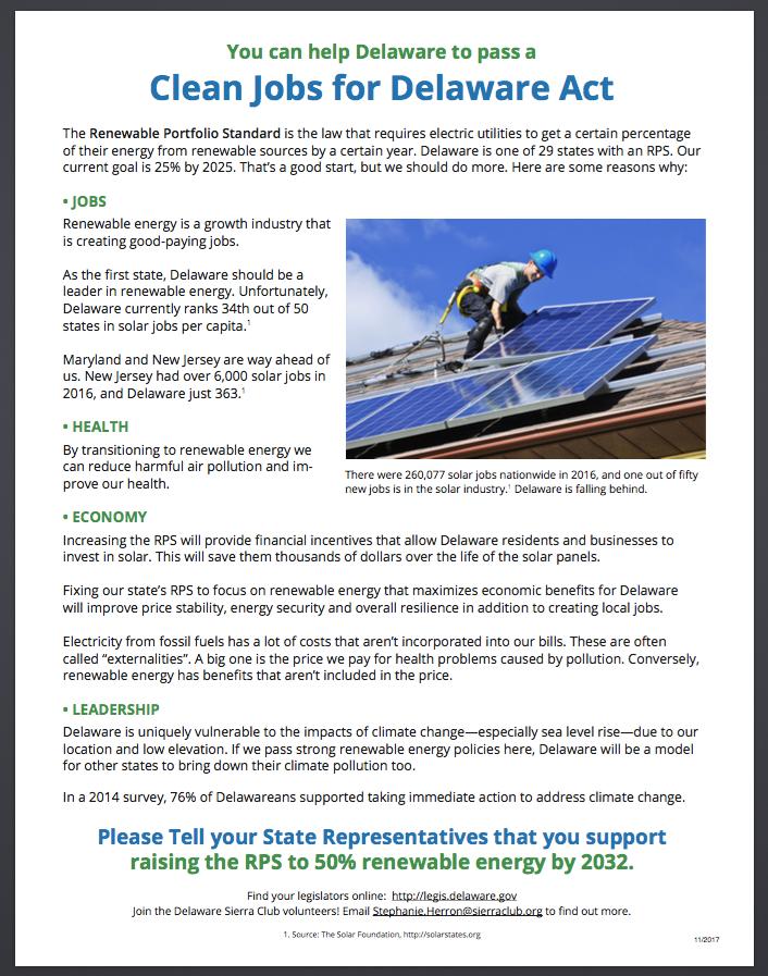 Sierra Club flyer on Renewable Portfolio Standard
