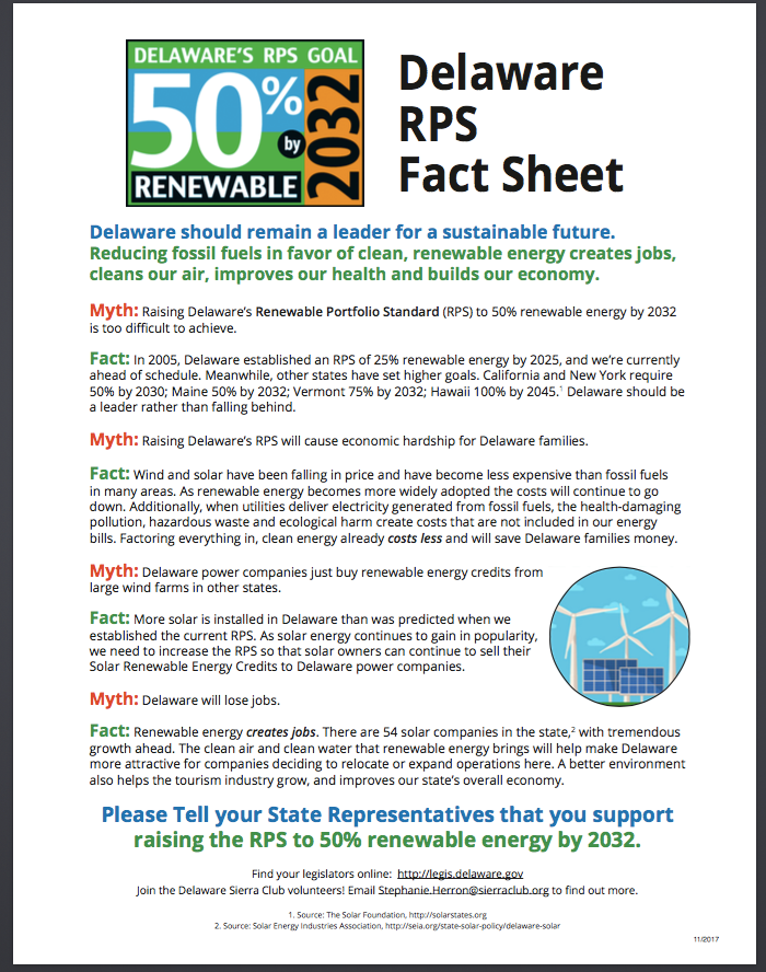 Sierra Club RPS fact sheet