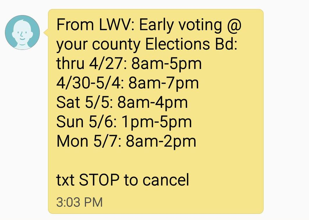 SMS text with early voting dates