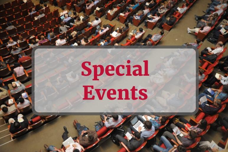 Special Events - text overlay on stock photo of audience members sitting in auditorium