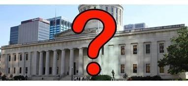 Ohio Statehouse with Question Mark over it