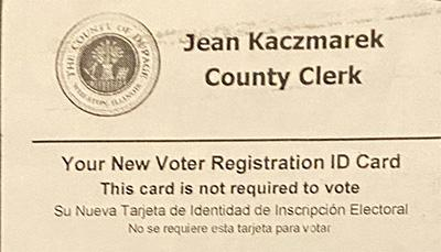 DuPage County, IL Voter registration ID card