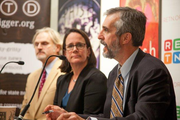 David Mears, director of the Environmental Law Center at the Vermont Law School, at VTDigger's panel on water quality. At left, Chris Kilian of the Conservation Law Foundation and Agency of Natural Resources Secretary Julie Moore. Photo by Mike Dougherty/