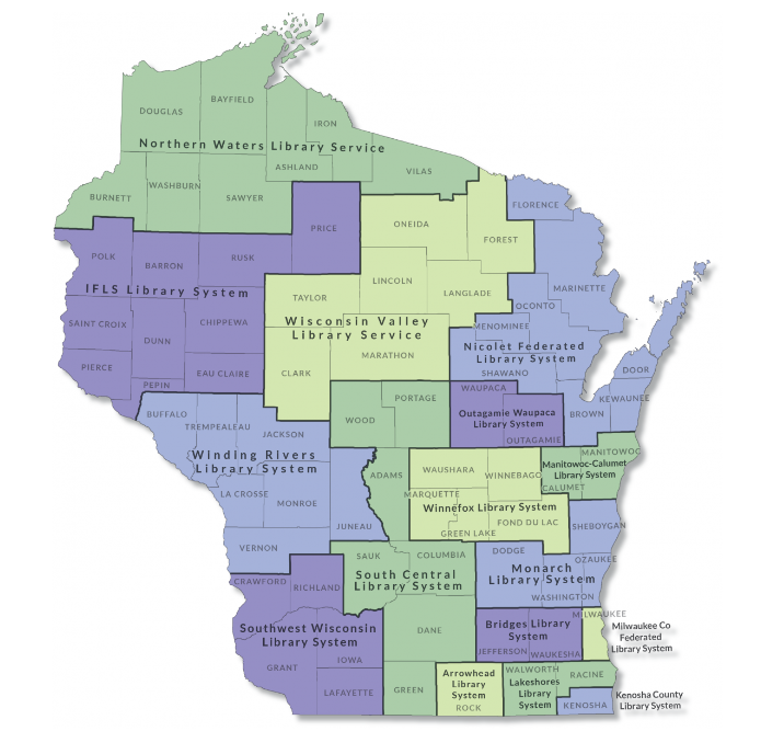 Map of Wisconsin Public Library System