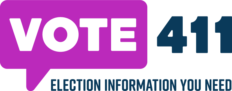 Vote411 logo in purple and black text