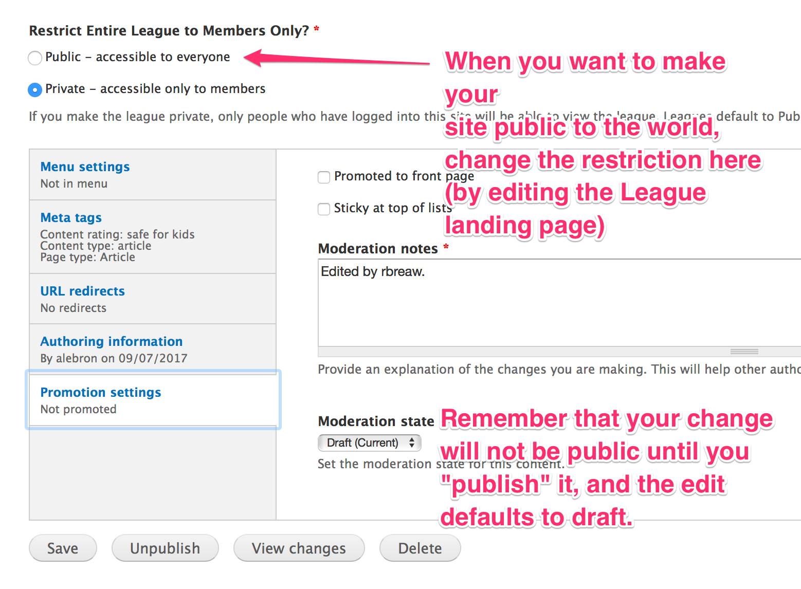 Make League Site public