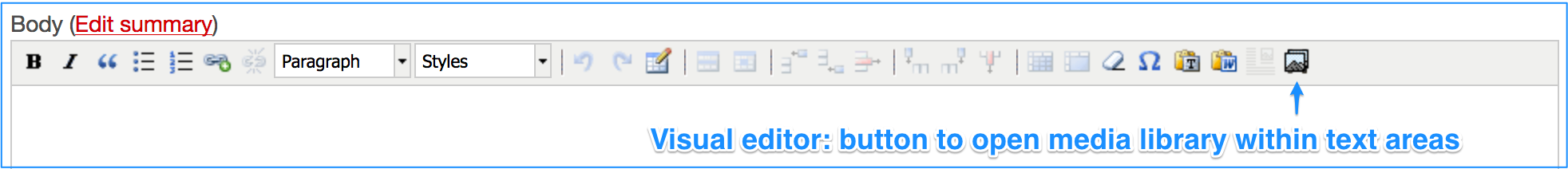 Visual editor, pointing to putting used to open the media library in the body area