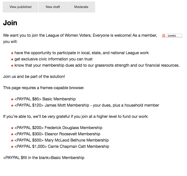 Example of the Join page on MyLO