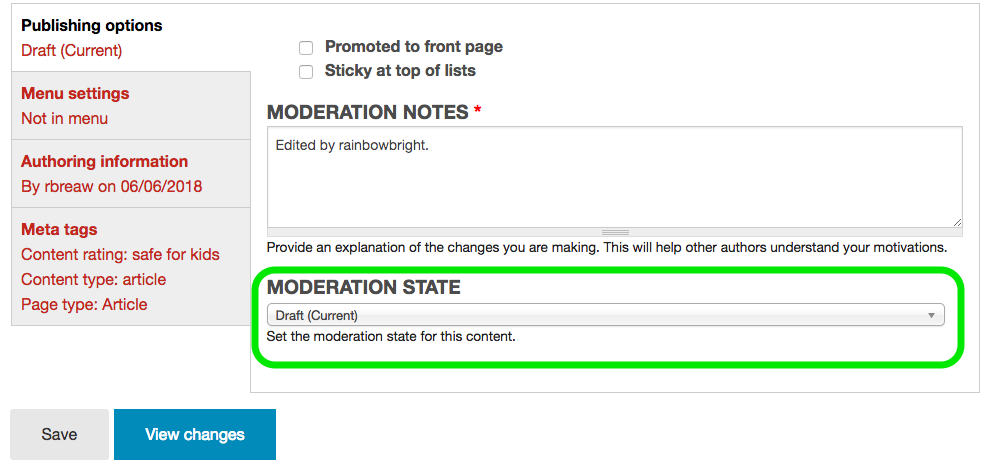 Example of Moderation State menu