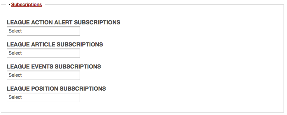 Example of editing Subscriptions on MyLO