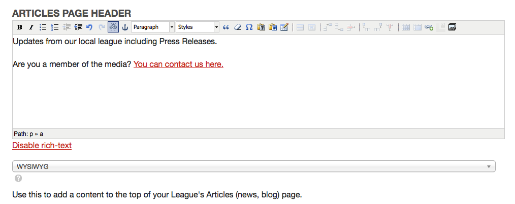 Entering custom header text for the Articles page.
