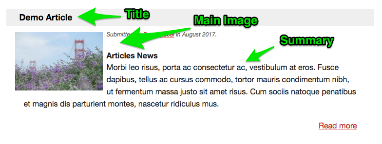 Example of Title, Summary and Main Image on MyLO Homepage