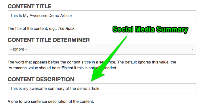Example of changing the Summary for social media websites.