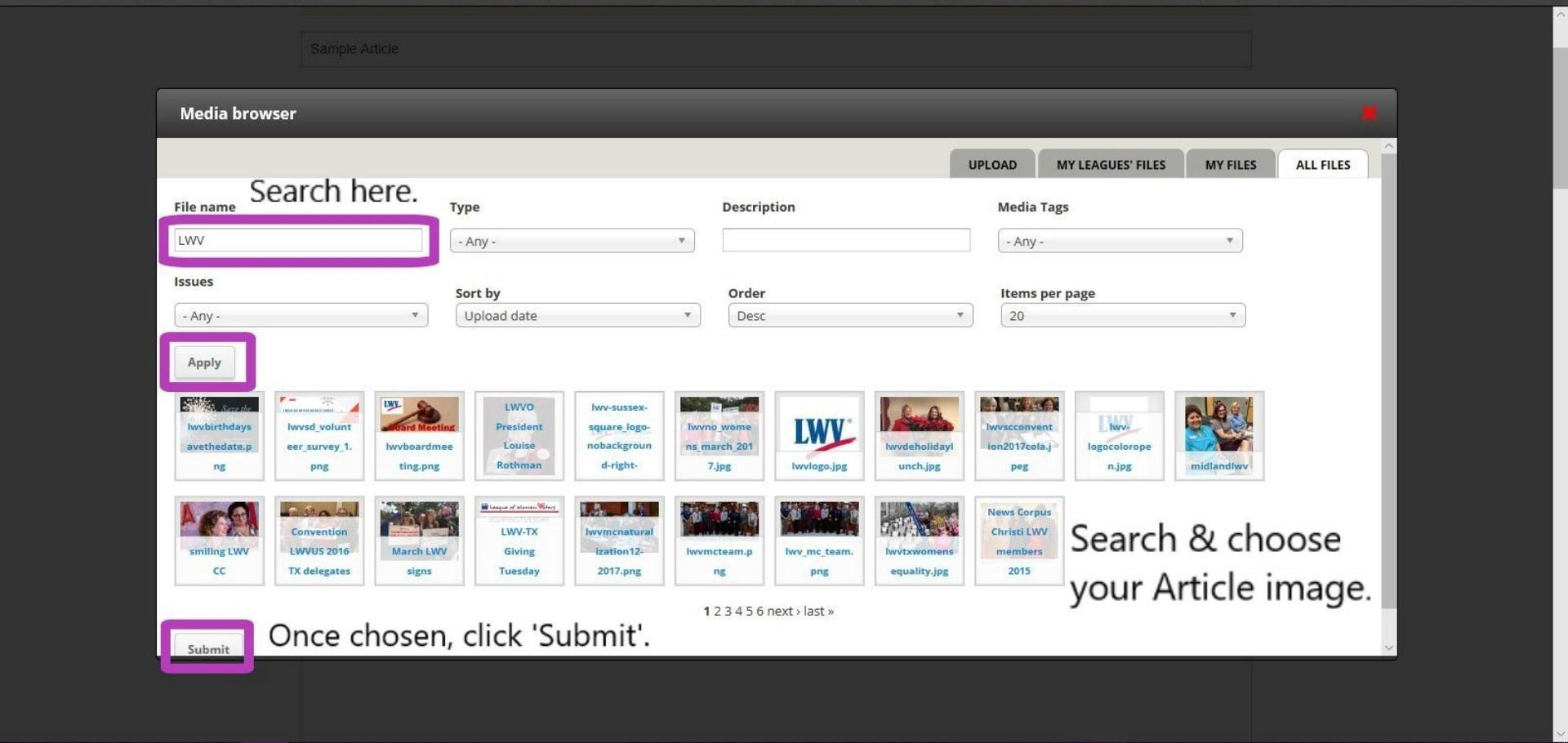 Create Article - search for main image (Media Library)