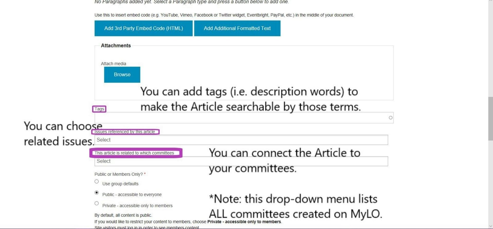 Create Article - add embed code, attachments, tags, related issues or committees