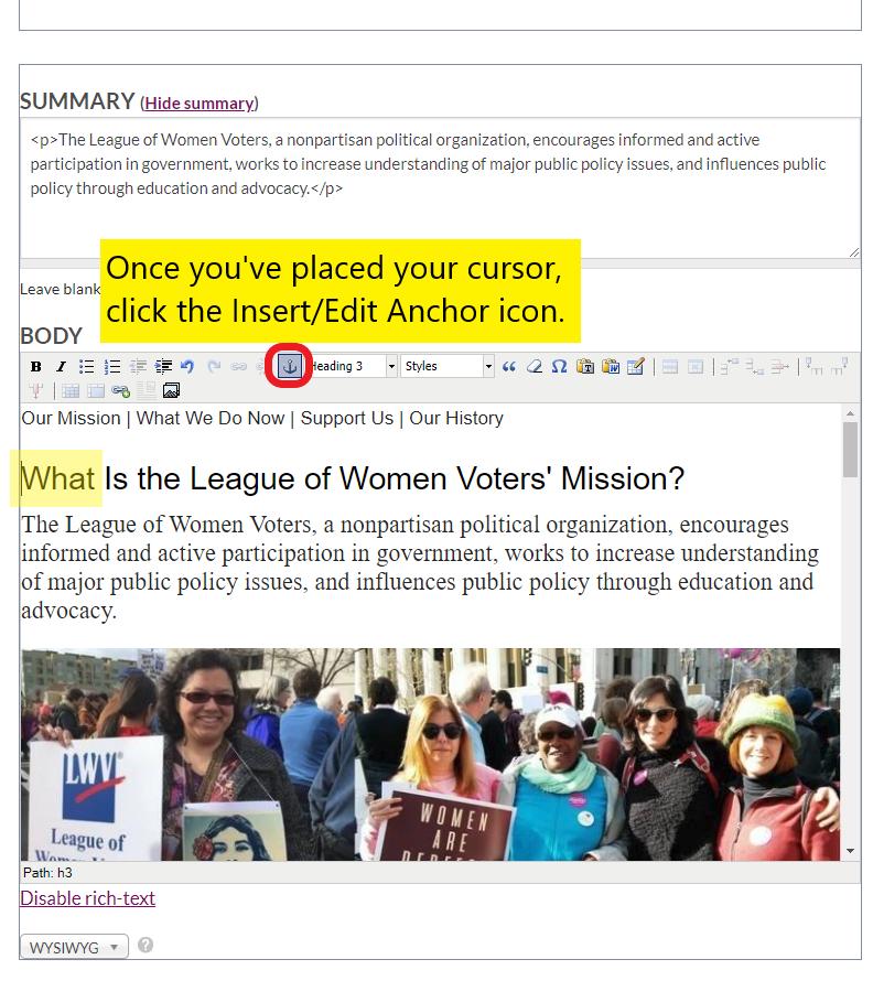 Screenshot of placing cursor and inserting anchor link