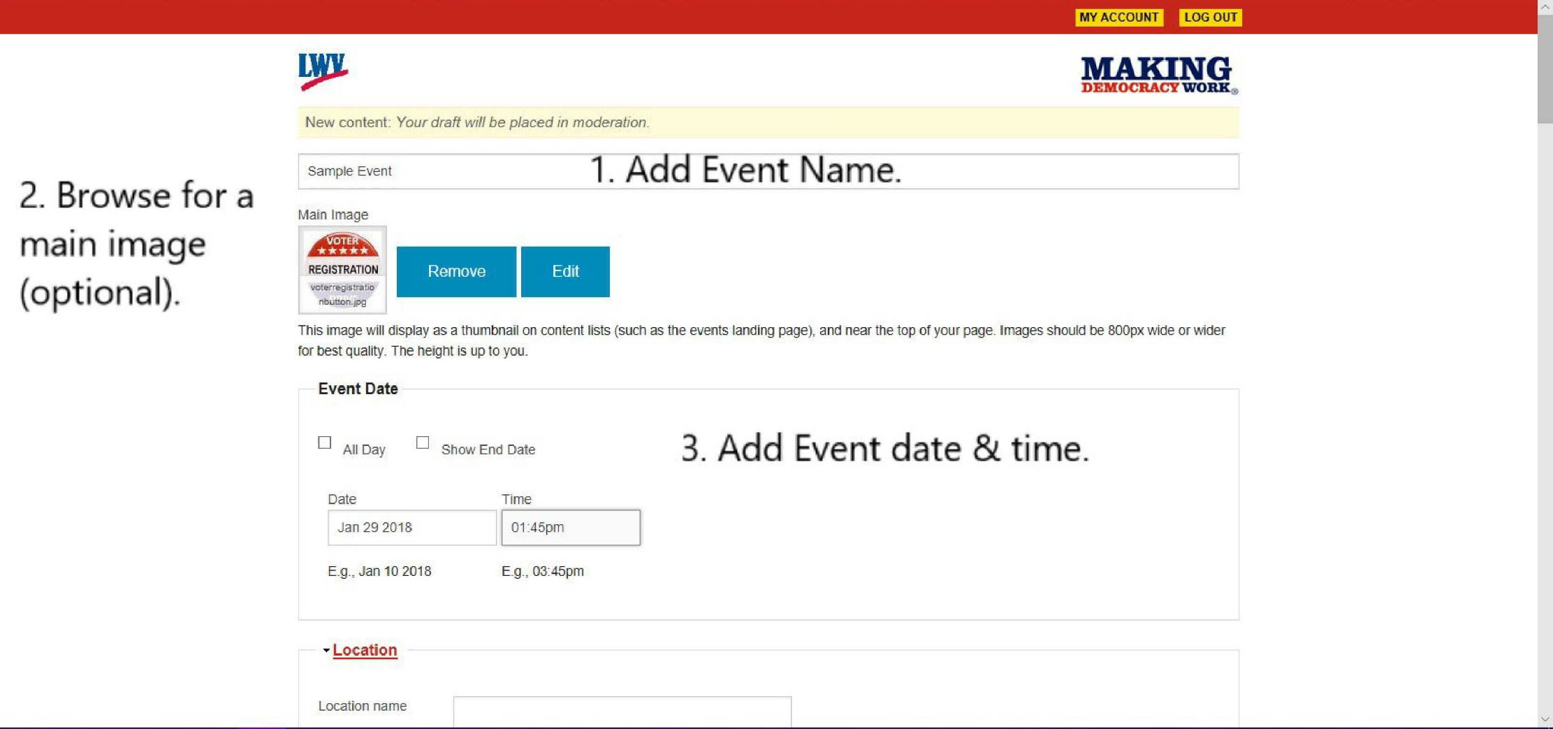 Add Event - add title, main image, & date/time