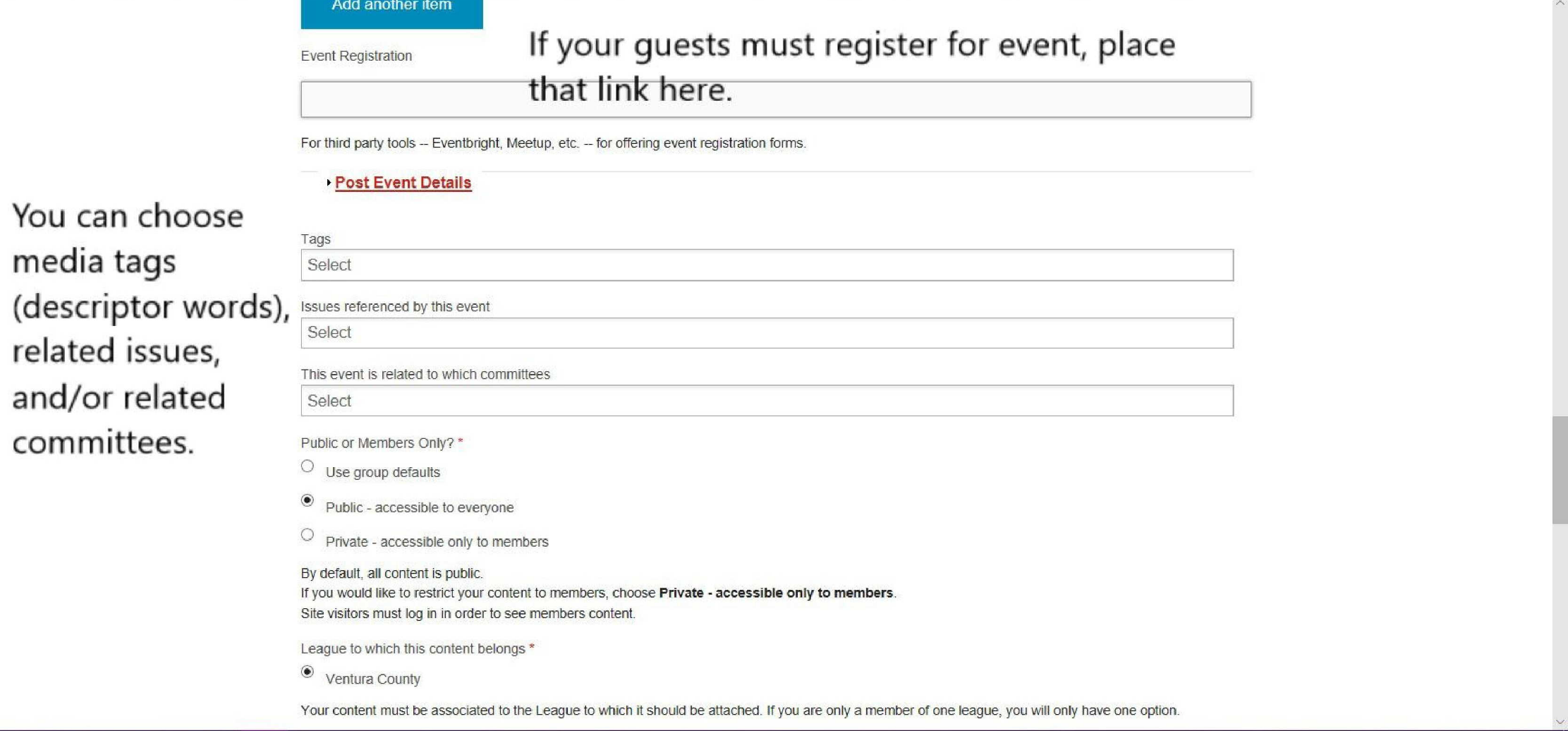 Add Event - add registration link, media tags, related issues and/or committees