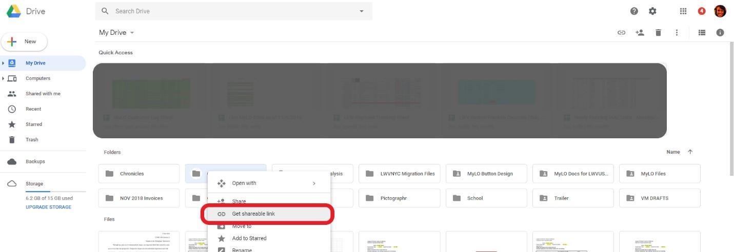 Get shareable link of Google Drive folder