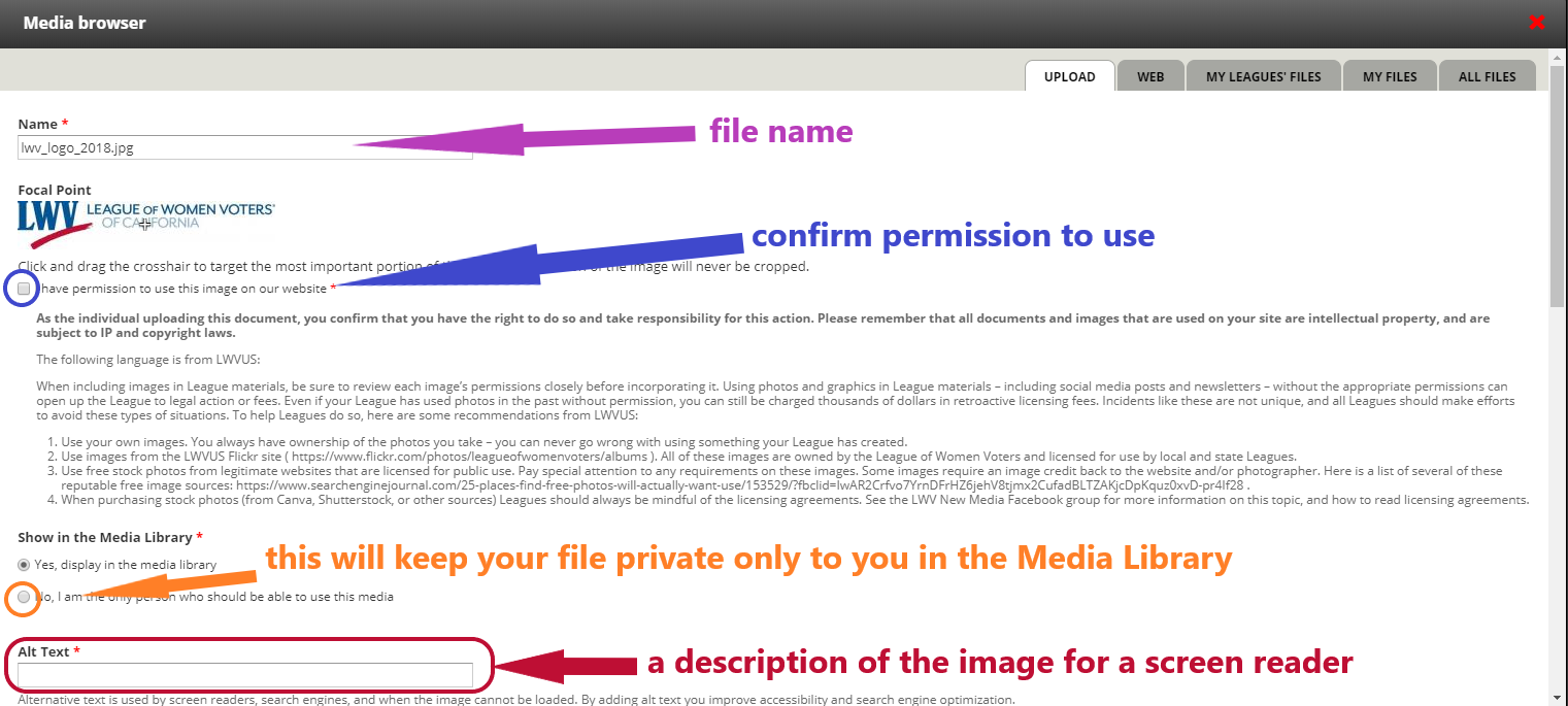 screenshot of Media browser when uploading a new image to Media Library
