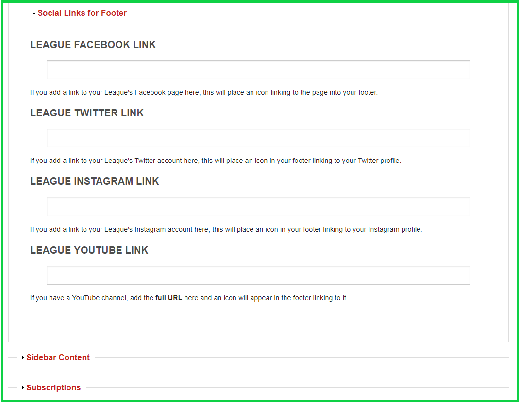 screenshot of Social Links for Footer from homepage editing form