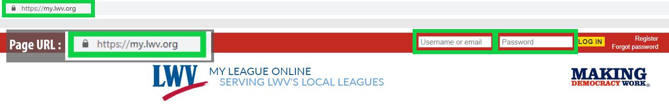 Screenshot of red login bar at https://my.lwv.org