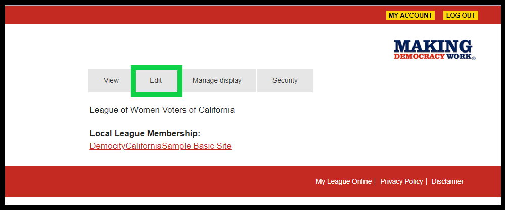 Screenshot of My Account screen at https://my.lwv.org