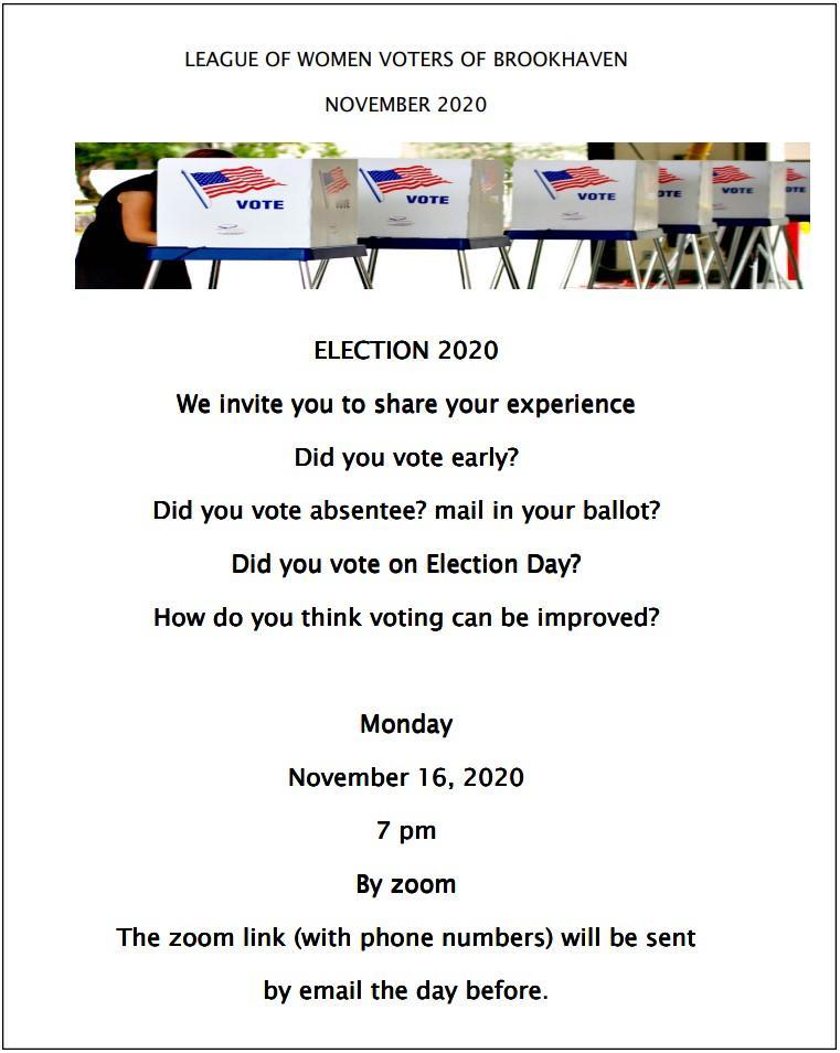 LWV Brookhaven November 2020 Newsletter