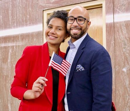 Couple holding American Flag