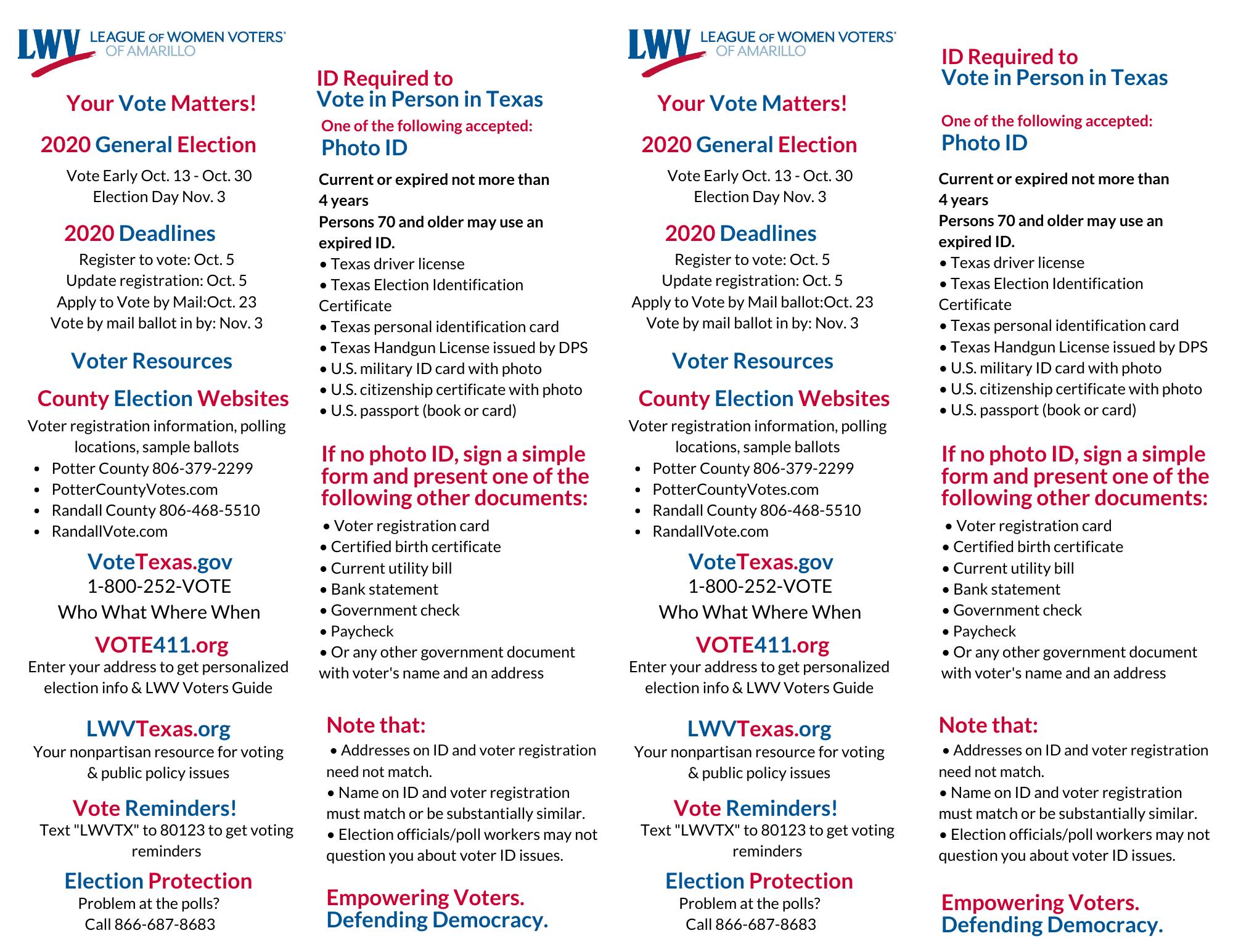 Voter information bookmark