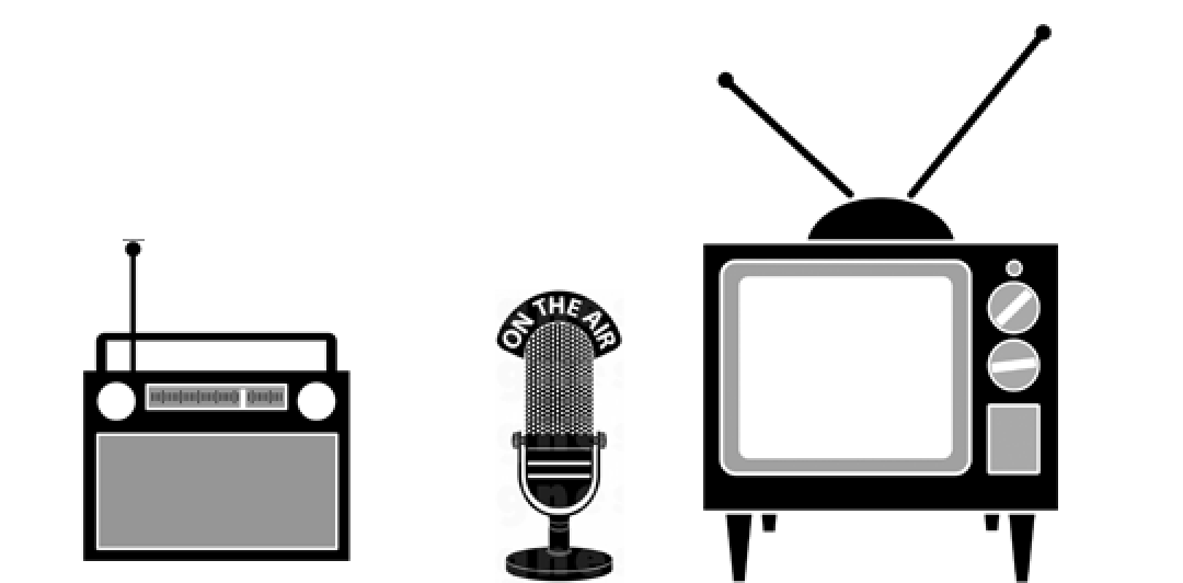 picture of a tv, microphone, and radio