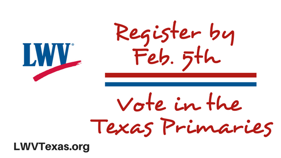 "Graphic ""Register by Feb. 5th vote in the Texas Primaries"""