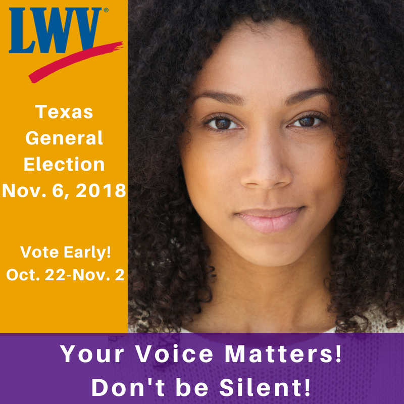Your Voice Matters in the Texas General Election with photo of women smiling