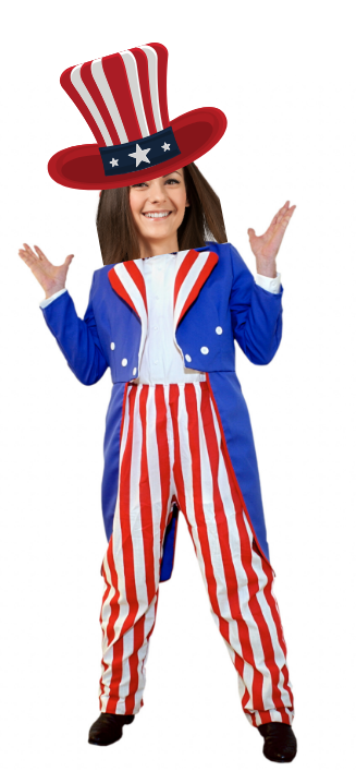 Woman dressed as uncle sam