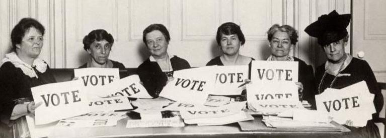 Vintage group of women with vote signs