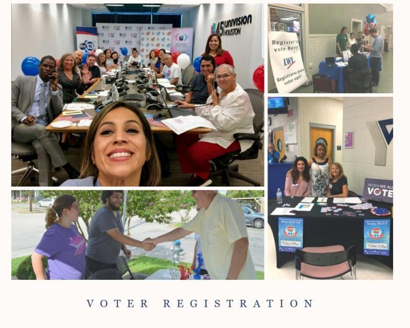 Collage of Voter Registers in Action