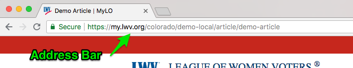 Example of the address bar in Google Chrome on Macintosh