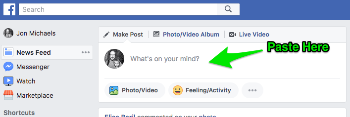 "Example of Facebook's ""What's on your mind?"" at the top of the News Feed"