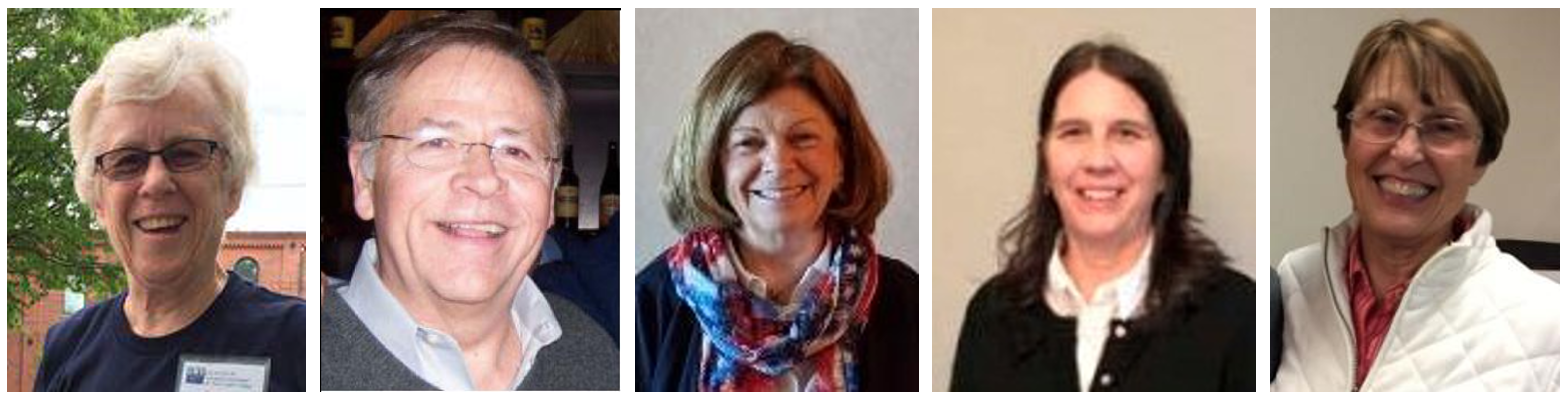 headshots of five  individuals - officers of LWVNCC in 2019