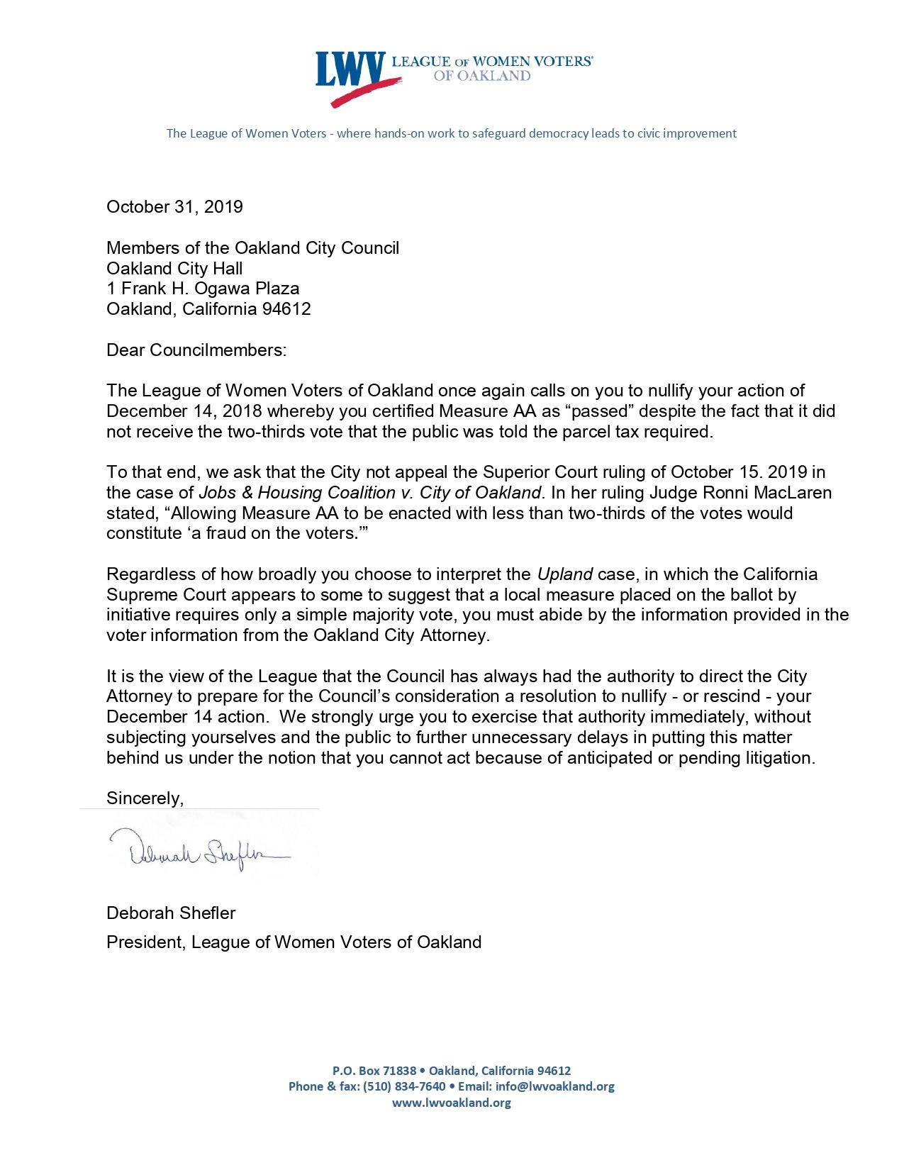 LWVO October 2019 letter to City Council re: Measure AA