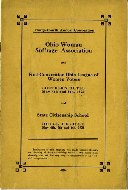 Ohio suffrage and LWV convention 1920