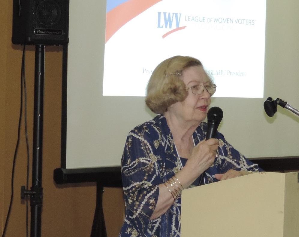 Pat Murrell, LWVL President, opens the program.