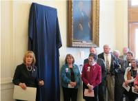 Governor Maggie Hassan speaking before unveiling the Marilla Ricker Portrait, New Hampshire State House