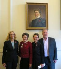 Joni Esperian and Liz Tentarelli, with artist Kate Gridley and bill sponsor Rep. Renny Cushing